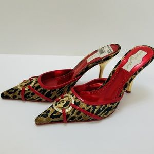 Baby Phat Heels. Red and Gold,  Animal Print.